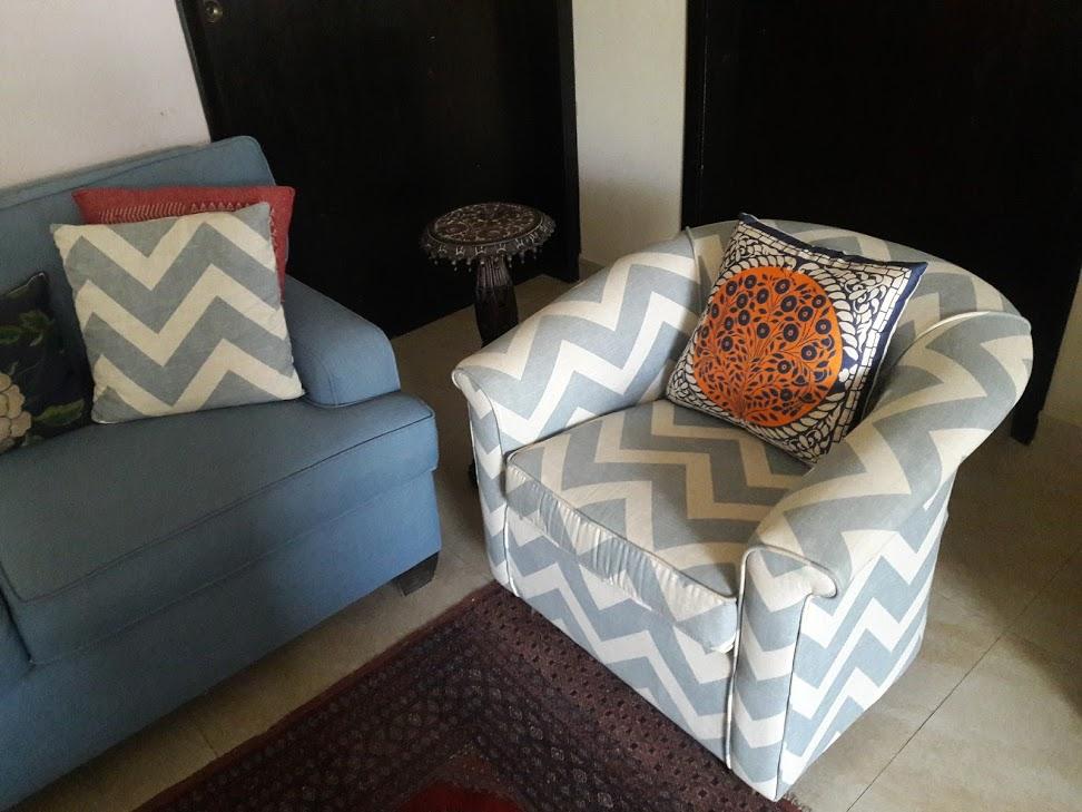Sofa with stripes