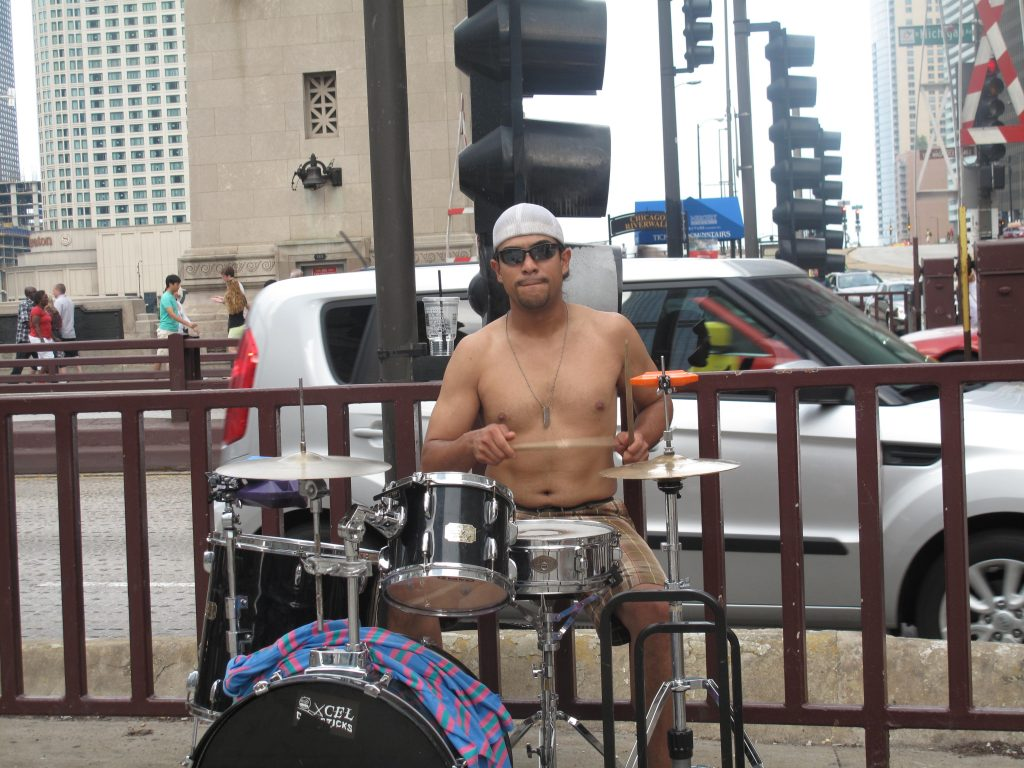 Street musician in Chicago