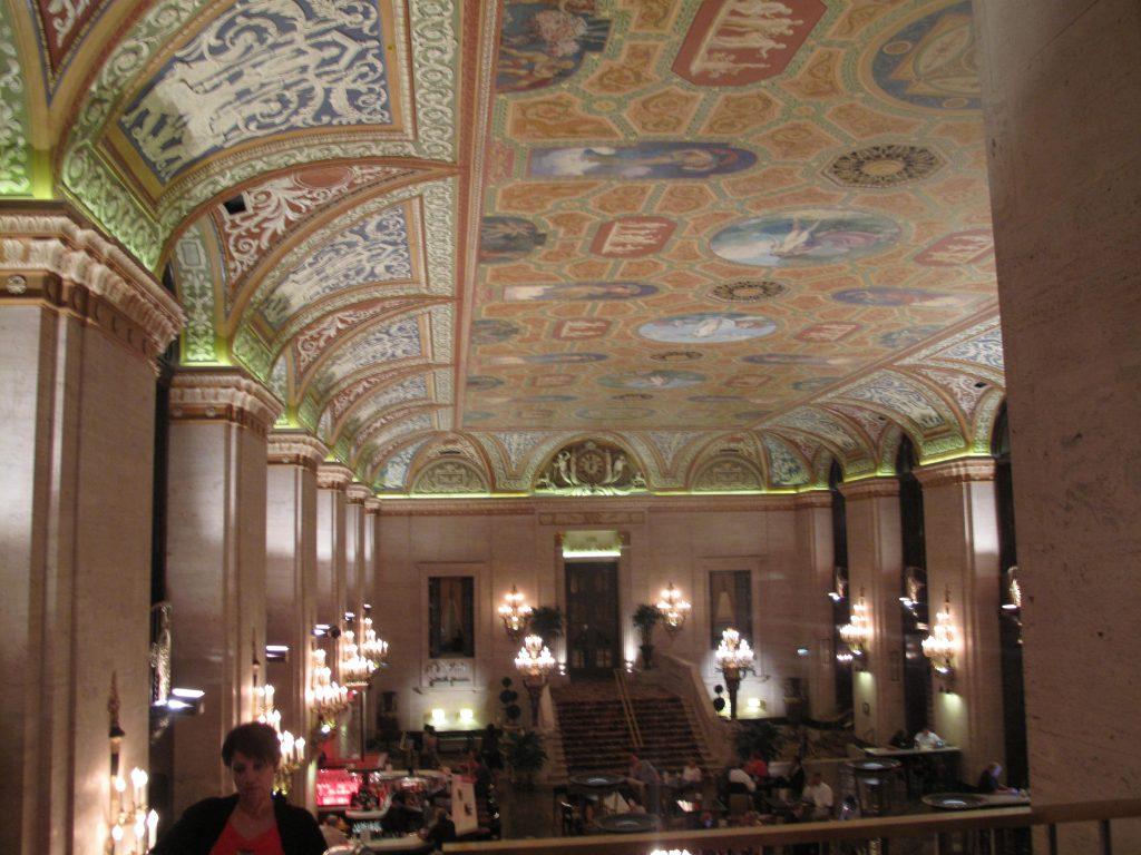 Fresco ceiling at the Palmer House Hilton Hotel, Chicago